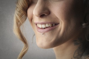 Girl with lip piercing
